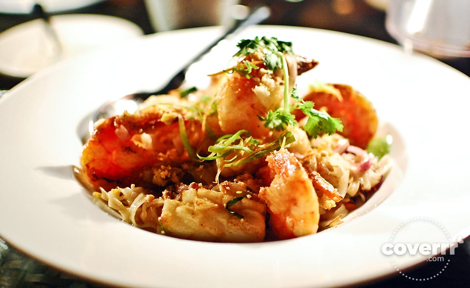 Stir Fried Tiger Prawns With XO Sauce Large tiger prawns served with traditional spicy seafood sauce. Php850